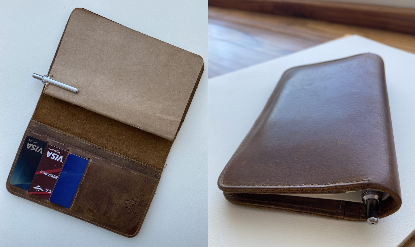 Wallet and pocket notebook combined into two object